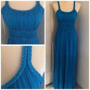 Caribbean Blue Spaghetti Strap Maxi Dress, EUC